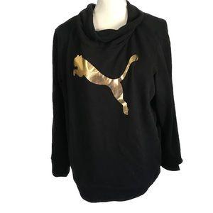 Puma NEW Gold Black Crewneck Logo Hoodie Cowl Neck